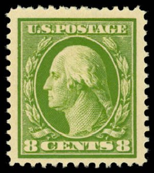 Costs of US Stamp Scott Catalogue 380: 8c 1911 Washington Perf 12. Daniel Kelleher Auctions, Dec 2014, Sale 661, Lot 320