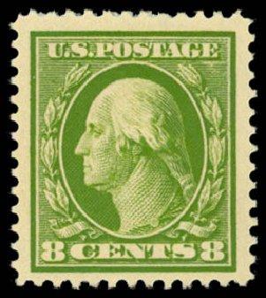 Costs of US Stamp Scott Catalogue 380: 8c 1911 Washington Perf 12. Daniel Kelleher Auctions, Dec 2014, Sale 661, Lot 320