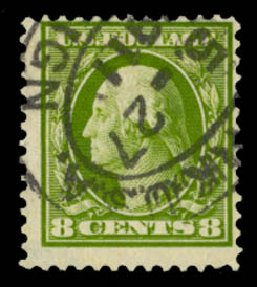 US Stamp Prices Scott Catalog #380 - 1911 8c Washington Perf 12. Daniel Kelleher Auctions, Sep 2014, Sale 655, Lot 451
