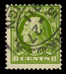 US Stamp Prices Scott Catalog #380 - 1911 8c Washington Perf 12. Daniel Kelleher Auctions, Sep 2014, Sale 655, Lot 451