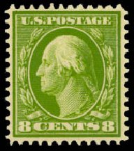 Values of US Stamps Scott Catalog #380: 8c 1911 Washington Perf 12. Daniel Kelleher Auctions, Aug 2015, Sale 672, Lot 2692