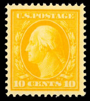 US Stamps Values Scott Cat. # 381 - 1911 10c Washington Perf 12. Daniel Kelleher Auctions, Aug 2015, Sale 672, Lot 2693