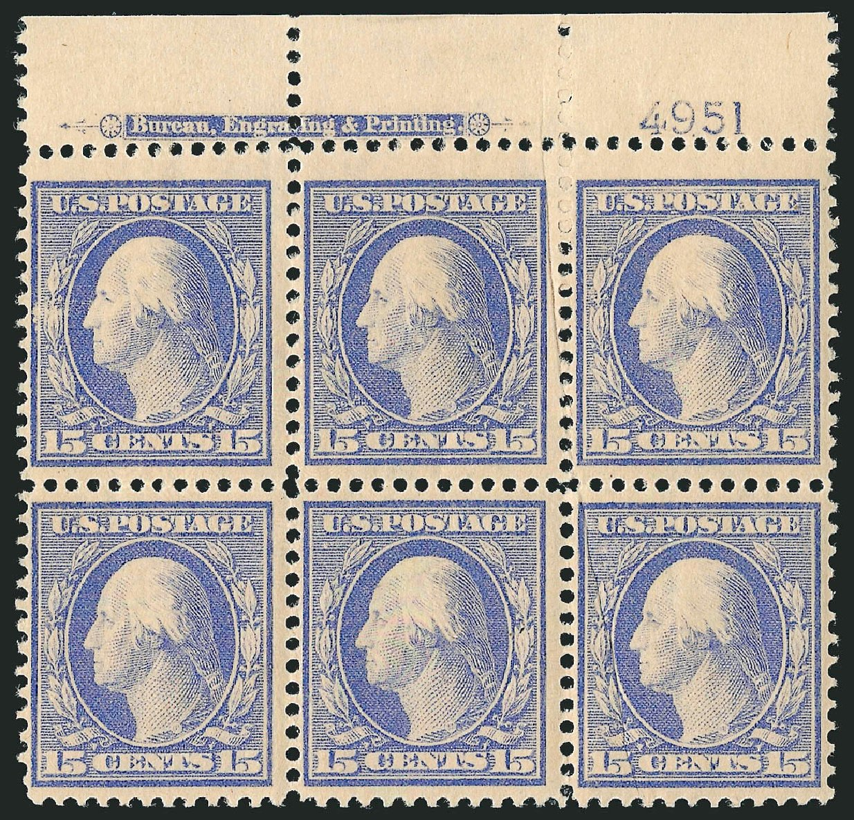 Prices of US Stamps Scott Catalogue #382 - 15c 1911 Washington Perf 12. Robert Siegel Auction Galleries, Sep 2014, Sale 1078, Lot 497
