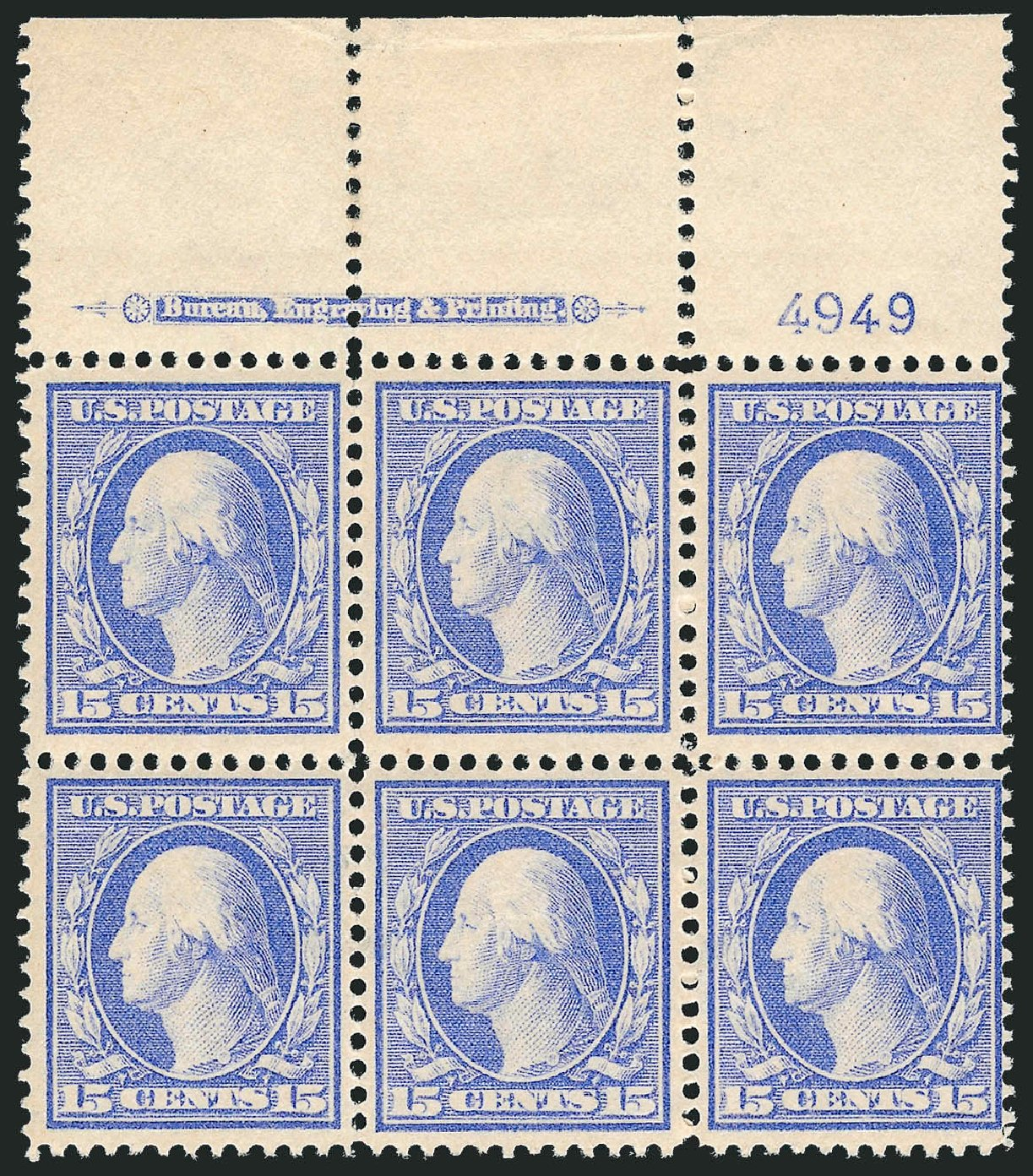 US Stamps Prices Scott Catalogue # 382: 1911 15c Washington Perf 12. Robert Siegel Auction Galleries, Jul 2014, Sale 1077, Lot 248