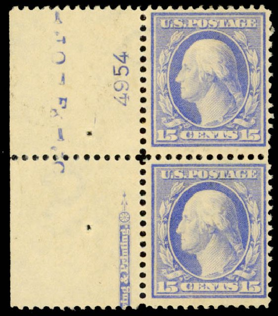 US Stamp Values Scott Catalog #382 - 1911 15c Washington Perf 12. Daniel Kelleher Auctions, Oct 2014, Sale 660, Lot 2349