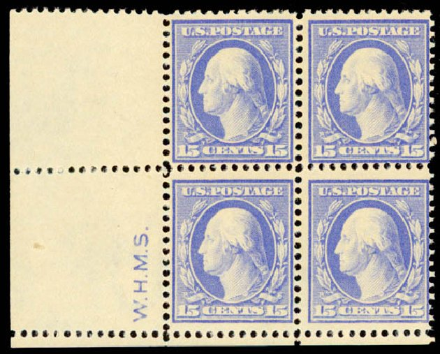 Prices of US Stamps Scott Cat. 382 - 1911 15c Washington Perf 12. Daniel Kelleher Auctions, May 2015, Sale 669, Lot 2941