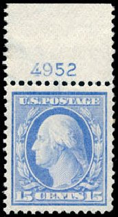 Value of US Stamp Scott 382 - 15c 1911 Washington Perf 12. Schuyler J. Rumsey Philatelic Auctions, Apr 2015, Sale 60, Lot 2804