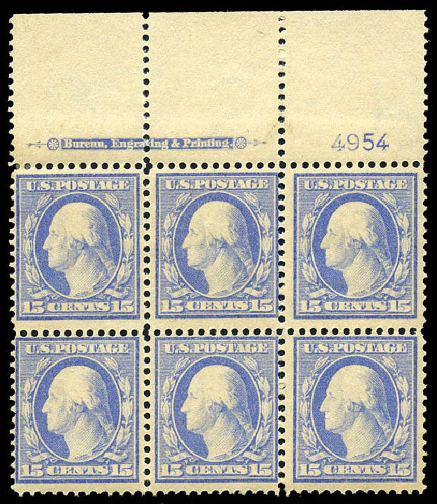 US Stamps Value Scott Catalog #382 - 15c 1911 Washington Perf 12. Matthew Bennett International, May 2014, Sale 350, Lot 532