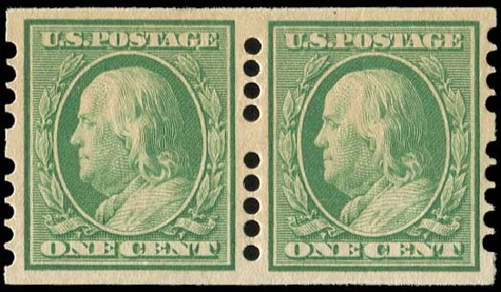 US Stamp Value Scott Catalogue 383: 1c 1911 Franklin Imperf. Regency-Superior, Jan 2015, Sale 109, Lot 1157