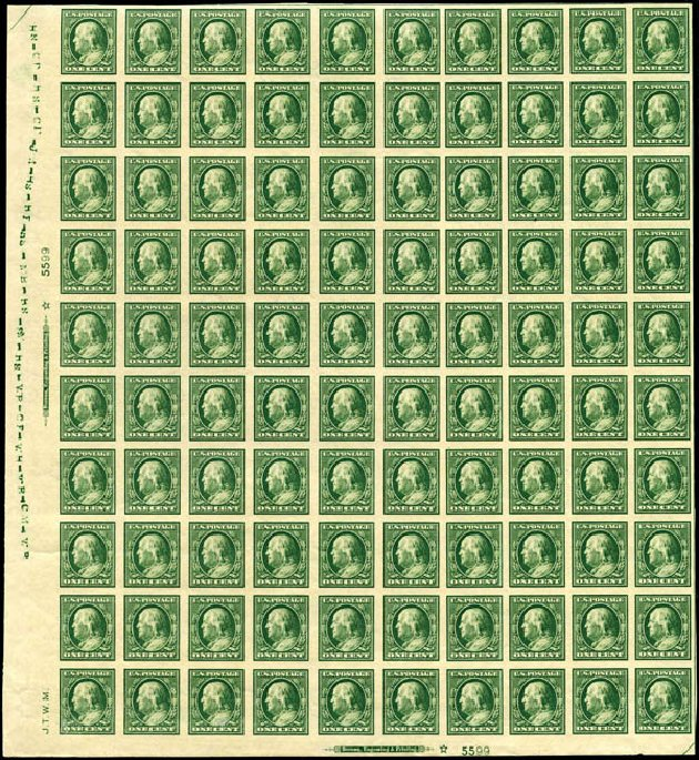 US Stamps Prices Scott Catalog #383 - 1911 1c Franklin Imperf. Harmer-Schau Auction Galleries, Jan 2014, Sale 100, Lot 578