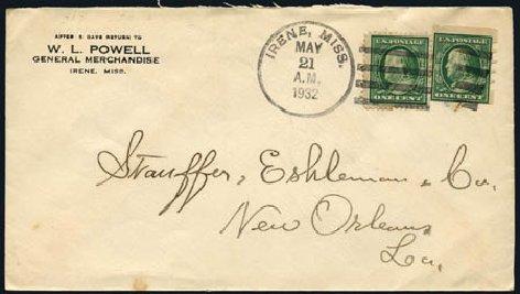 Values of US Stamps Scott Cat. 383: 1c 1911 Franklin Imperf. Harmer-Schau Auction Galleries, Aug 2011, Sale 90, Lot 1878