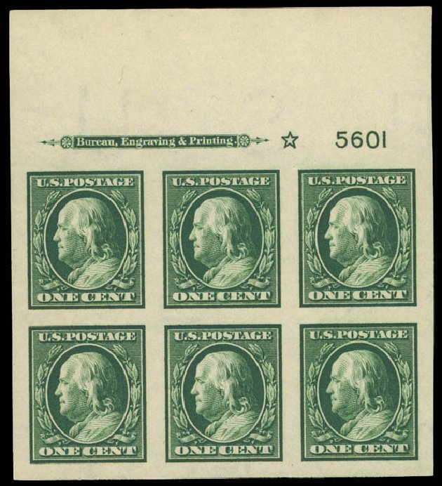 Value of US Stamp Scott Catalog # 383: 1911 1c Franklin Imperf. Daniel Kelleher Auctions, Apr 2012, Sale 629, Lot 318