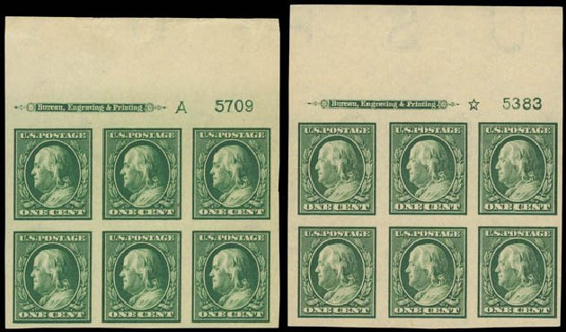 US Stamps Values Scott #383 - 1c 1911 Franklin Imperf. Daniel Kelleher Auctions, Apr 2012, Sale 629, Lot 319