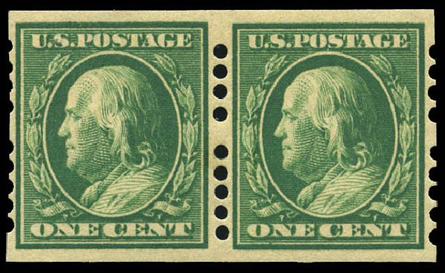 Prices of US Stamps Scott 383 - 1c 1911 Franklin Imperf. Matthew Bennett International, Mar 2011, Sale 336, Lot 1381