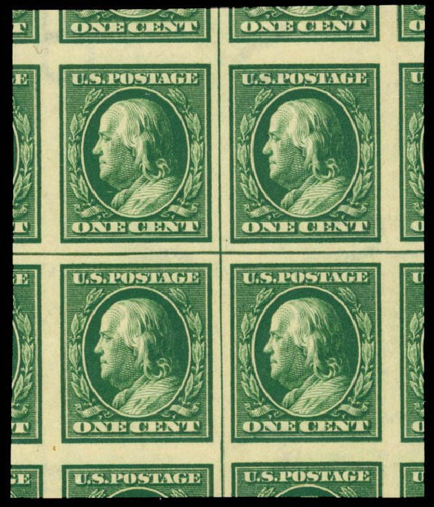 US Stamp Price Scott Catalog # 383: 1c 1911 Franklin Imperf. Daniel Kelleher Auctions, Mar 2013, Sale 635, Lot 501