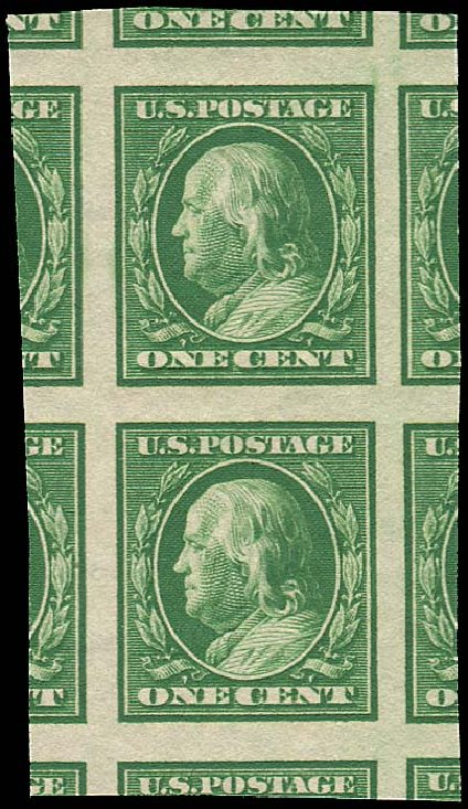 Costs of US Stamp Scott 383: 1911 1c Franklin Imperf. Regency-Superior, Aug 2015, Sale 112, Lot 771
