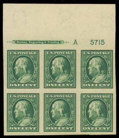 US Stamps Values Scott Catalog #383: 1c 1911 Franklin Imperf. Daniel Kelleher Auctions, Oct 2011, Sale 626, Lot 344