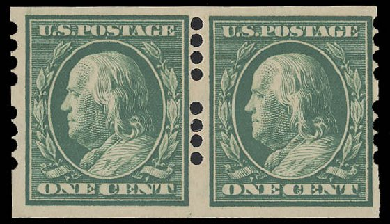 US Stamp Value Scott Catalogue # 383: 1911 1c Franklin Imperf. Daniel Kelleher Auctions, Aug 2015, Sale 672, Lot 2694