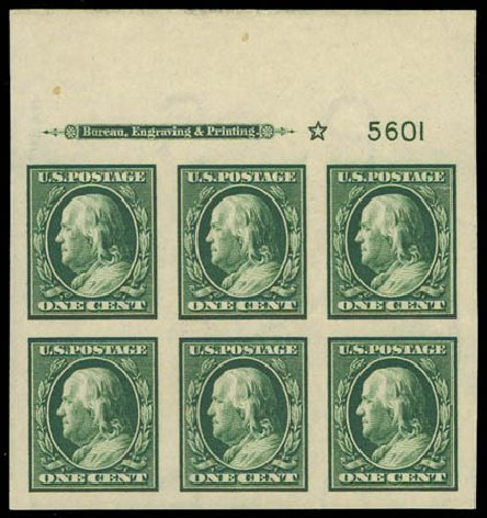 Cost of US Stamps Scott Catalogue 383 - 1911 1c Franklin Imperf. Daniel Kelleher Auctions, Oct 2011, Sale 626, Lot 345