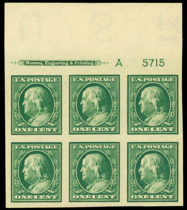 Costs of US Stamps Scott Catalog # 383 - 1911 1c Franklin Imperf. Daniel Kelleher Auctions, Mar 2013, Sale 635, Lot 502