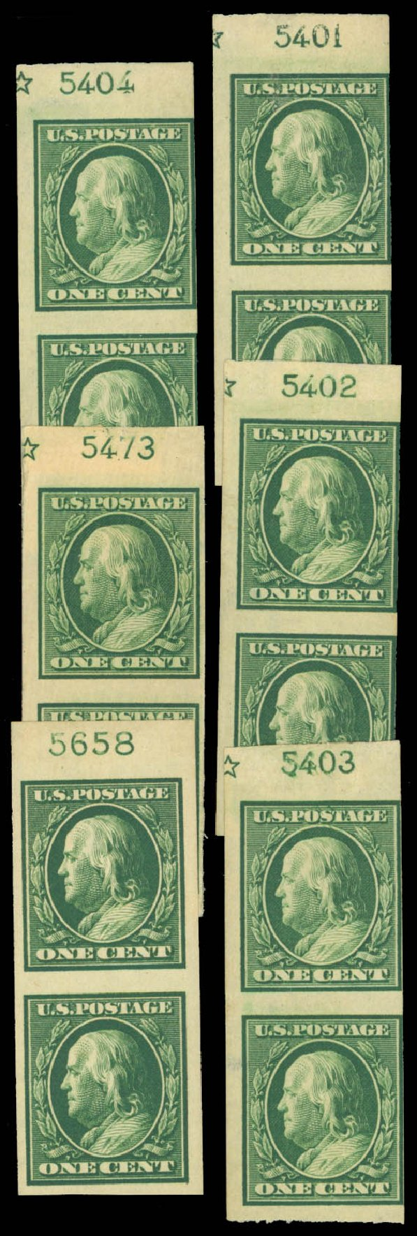 Cost of US Stamps Scott Catalogue 383: 1911 1c Franklin Imperf. Daniel Kelleher Auctions, Sep 2014, Sale 655, Lot 452