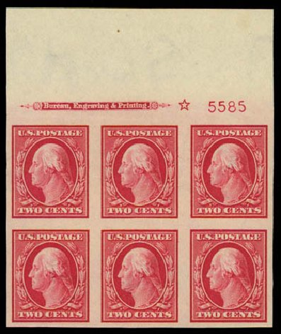 US Stamps Values Scott Catalog #384: 1910 2c Washington Imperf. Daniel Kelleher Auctions, Oct 2011, Sale 626, Lot 347