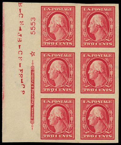 US Stamps Value Scott 384 - 2c 1910 Washington Imperf. Daniel Kelleher Auctions, Oct 2011, Sale 626, Lot 348
