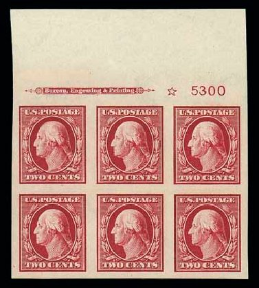 Costs of US Stamp Scott Catalog # 384 - 1910 2c Washington Imperf. Matthew Bennett International, Jun 2007, Sale 319, Lot 1409