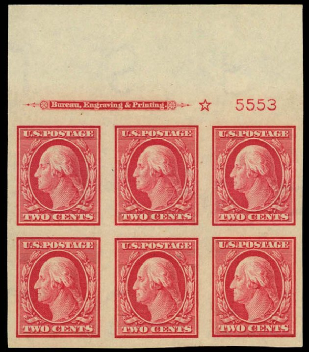 US Stamp Values Scott Catalogue # 384: 1910 2c Washington Imperf. Daniel Kelleher Auctions, Apr 2012, Sale 629, Lot 320