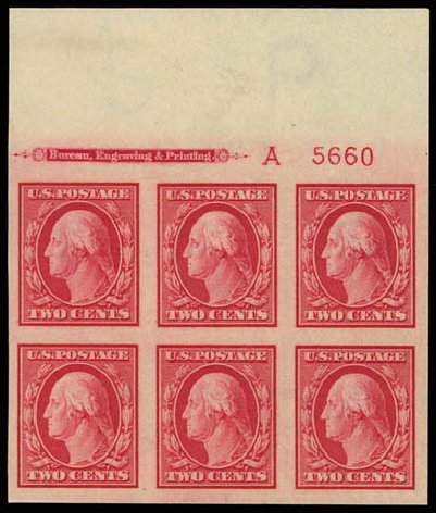 US Stamps Values Scott Catalog 384: 2c 1910 Washington Imperf. Daniel Kelleher Auctions, Oct 2011, Sale 626, Lot 346