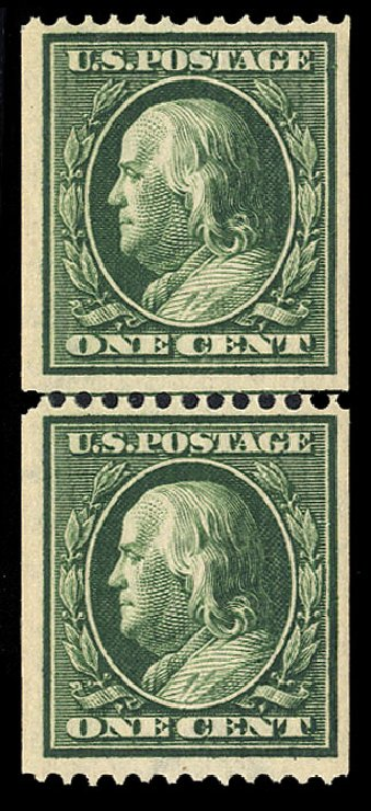 Costs of US Stamp Scott Cat. 385 - 1910 1c Franklin Coil. Cherrystone Auctions, Jul 2015, Sale 201507, Lot 77