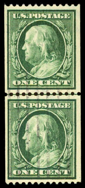 US Stamps Price Scott Cat. 385: 1c 1910 Franklin Coil. Daniel Kelleher Auctions, Aug 2015, Sale 672, Lot 2697