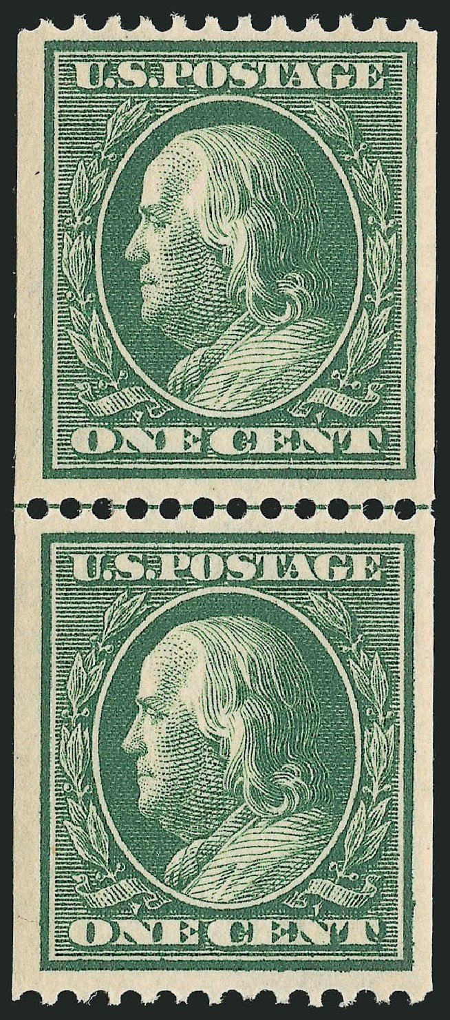 Costs of US Stamps Scott Cat. #385 - 1c 1910 Franklin Coil. Robert Siegel Auction Galleries, Feb 2015, Sale 1093, Lot 197