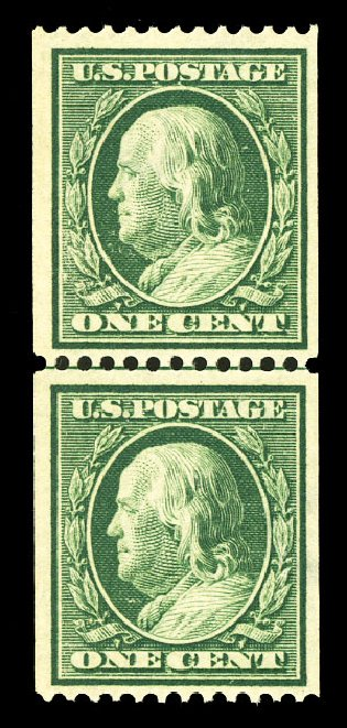 US Stamps Prices Scott Cat. #385 - 1c 1910 Franklin Coil. Cherrystone Auctions, Jul 2015, Sale 201507, Lot 2138