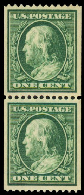 US Stamp Prices Scott Catalogue # 385: 1c 1910 Franklin Coil. Daniel Kelleher Auctions, Aug 2015, Sale 672, Lot 2695