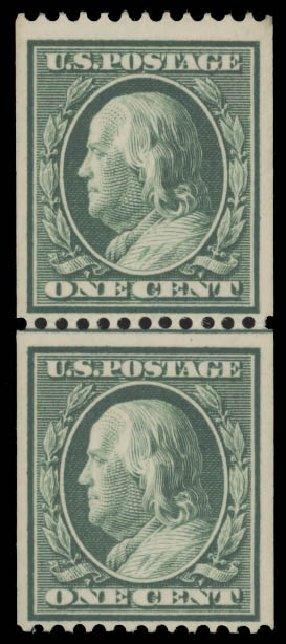Cost of US Stamp Scott Cat. #385 - 1c 1910 Franklin Coil. Daniel Kelleher Auctions, Aug 2015, Sale 672, Lot 2696