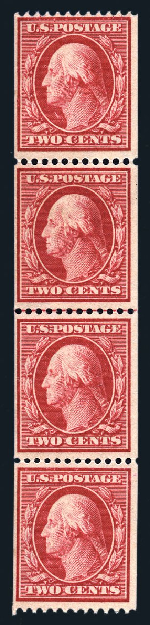 Values of US Stamp Scott Cat. 386: 1910 2c Washington Coil. Harmer-Schau Auction Galleries, Aug 2015, Sale 106, Lot 1788