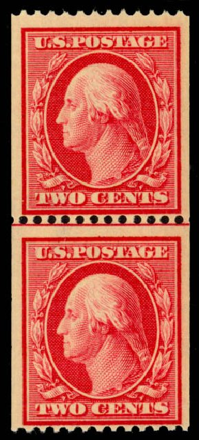 US Stamps Value Scott Catalogue # 386 - 1910 2c Washington Coil. Daniel Kelleher Auctions, May 2014, Sale 652, Lot 569