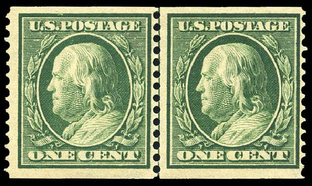Value of US Stamp Scott # 387: 1910 1c Franklin Coil. Matthew Bennett International, May 2014, Sale 350, Lot 537