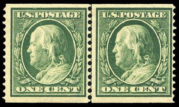Value of US Stamp Scott # 387: 1910 1c Franklin Coil. Matthew Bennett International, May 2014, Sale 350, Lot 537