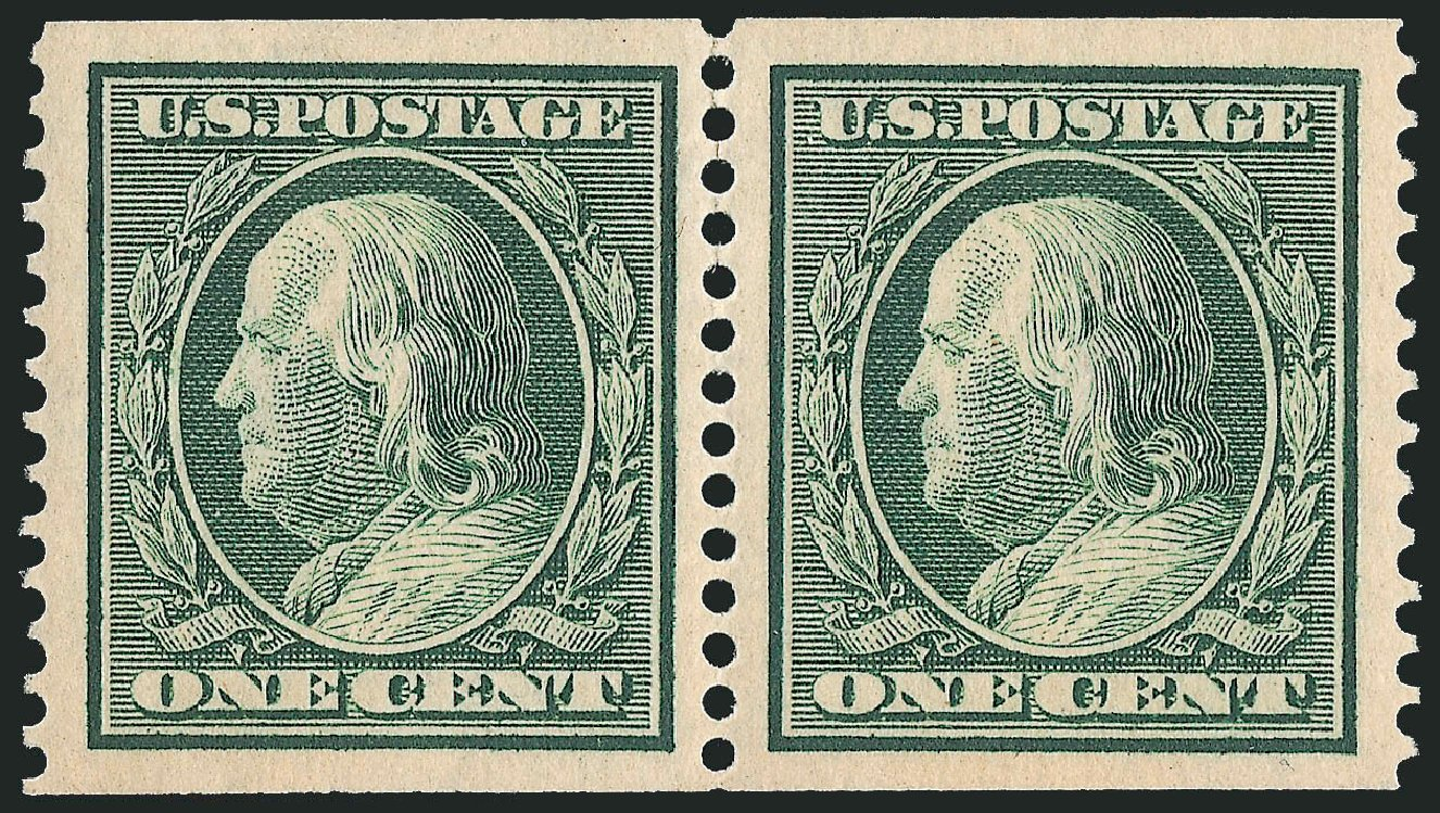 US Stamps Price Scott Catalogue #387 - 1910 1c Franklin Coil. Robert Siegel Auction Galleries, Feb 2015, Sale 1093, Lot 207
