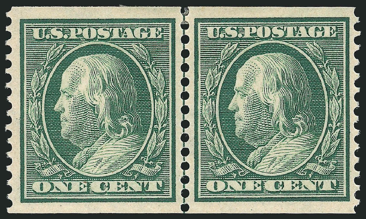 Values of US Stamps Scott Catalogue 387 - 1910 1c Franklin Coil. Robert Siegel Auction Galleries, Feb 2015, Sale 1093, Lot 208