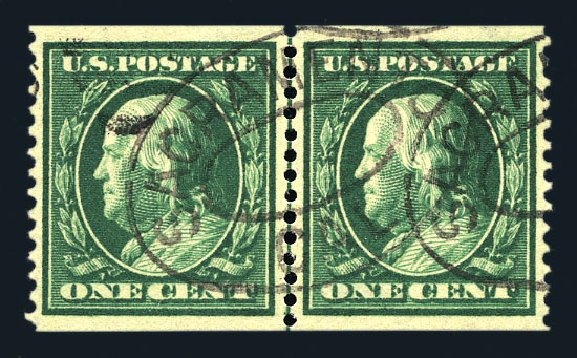 Value of US Stamps Scott Cat. #387 - 1910 1c Franklin Coil. Harmer-Schau Auction Galleries, Aug 2015, Sale 106, Lot 1789