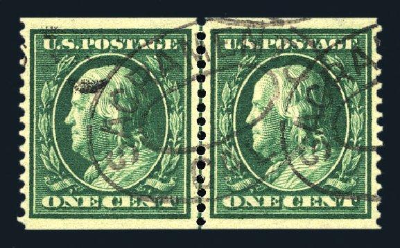 Value of US Stamps Scott Cat. #387 - 1910 1c Franklin Coil. Harmer-Schau Auction Galleries, Aug 2015, Sale 106, Lot 1789