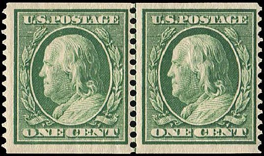 US Stamp Value Scott Cat. # 387: 1c 1910 Franklin Coil. Regency-Superior, Jan 2015, Sale 109, Lot 1159