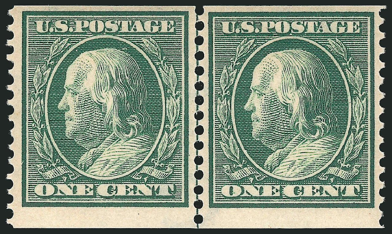 Value of US Stamp Scott # 387 - 1c 1910 Franklin Coil. Robert Siegel Auction Galleries, Apr 2015, Sale 1096, Lot 629