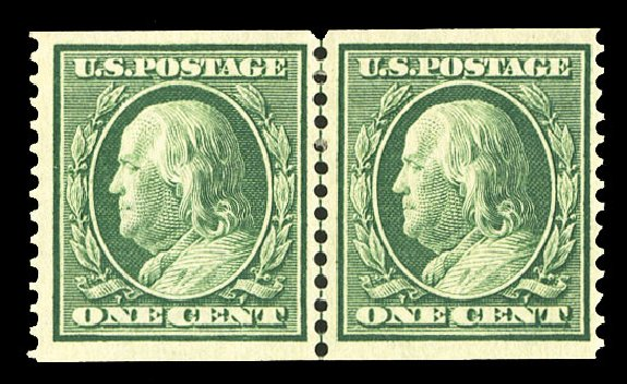 Price of US Stamps Scott 387: 1c 1910 Franklin Coil. Cherrystone Auctions, Jul 2015, Sale 201507, Lot 2140