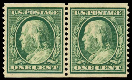 Prices of US Stamps Scott Cat. 387: 1c 1910 Franklin Coil. Daniel Kelleher Auctions, Oct 2014, Sale 660, Lot 2350