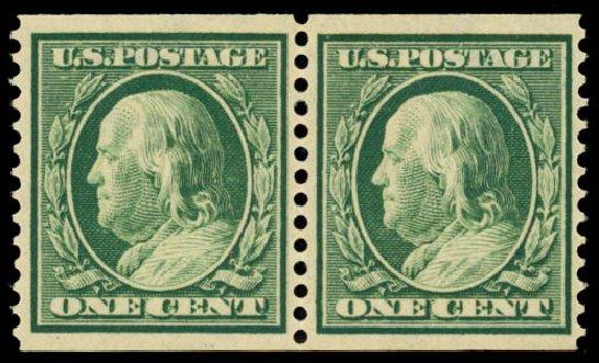 Prices of US Stamps Scott Cat. 387: 1c 1910 Franklin Coil. Daniel Kelleher Auctions, Oct 2014, Sale 660, Lot 2350