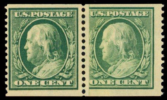 US Stamps Prices Scott Catalogue #387: 1910 1c Franklin Coil. Daniel Kelleher Auctions, May 2014, Sale 652, Lot 571
